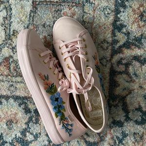 Rifle Paper Co Embroidered Pink Keds